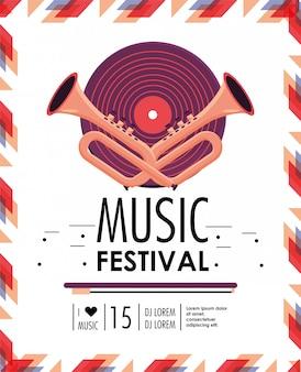 Disco e cornetas para a celebração do festival de música