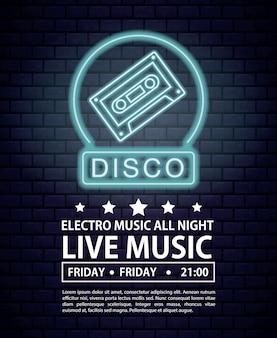 Disco electro music invitation poster luzes de néon cores