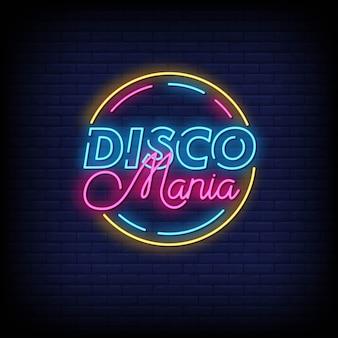 Disco mania com sinais néon estilo texto
