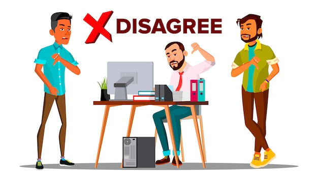 Discordo de pessoa. negócios discordam não gostam de pessoas. dedo para baixo. marca negativa.