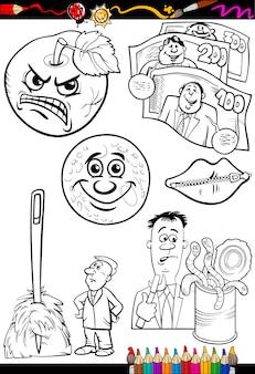 Discos de desenhos animados definidos para colorir livro