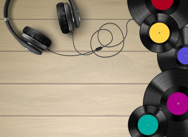 Discos de vinil retrô, discos e fone de ouvido em piso de madeira simples, vista superior realista
