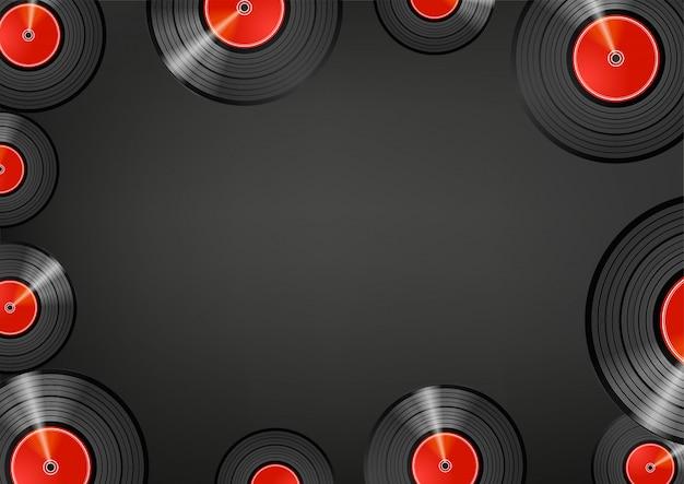 Discos de vinil retrô. fundo de mensagem de mídia social. copie o espaço para um texto