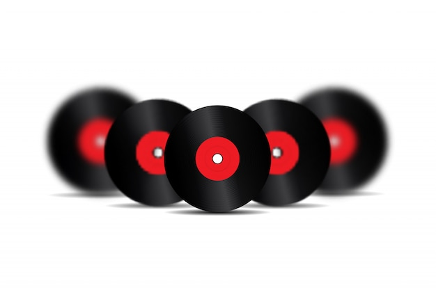 Discos de vinil retro realistas para decoração e cobertura no fundo branco. conceito de música vintage e dj.