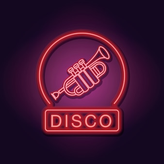 Discoteca trompete emblema luzes de néon sobre fundo escuro
