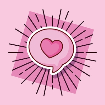 Discurso bolha amor coração cartoon estilo