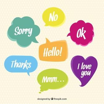Discurso bolhas coloridas com palavras