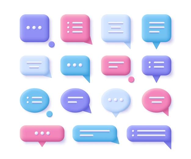 Discurso, comunicação, bolhas de diálogo - conjunto de ícones realistas. ilustração 3d.