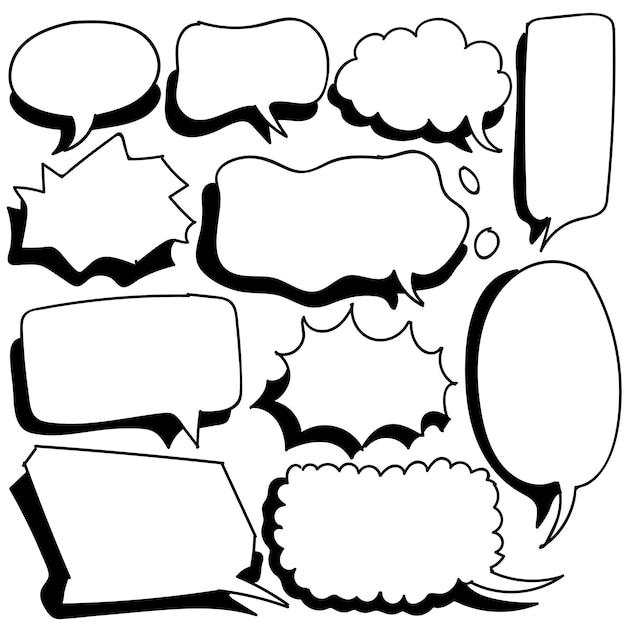 Discurso de bolha desenhada à mão em estilo doodle isolado no fundo branco
