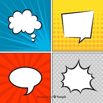 Discurso em quadrinhos bolhas coleção colorida