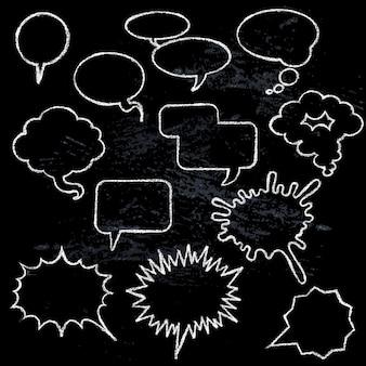 Discurso em quadrinhos bolhas ícones coleção várias formas em fundo preto