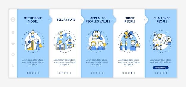 Discursos de inspiração para o modelo de integração do público. incentivar e motivar os colaboradores. telas de passo a passo da página da web.