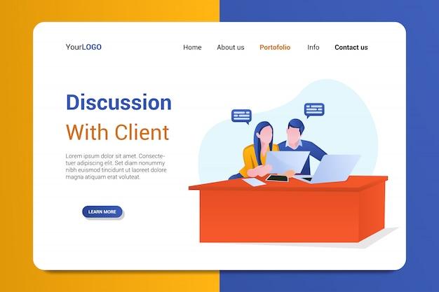 Discussão com o modelo de página de destino do cliente