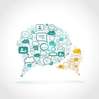 Discussão comunicação discurso bolha conjunto comunicação símbolos conceito ilustração vetorial