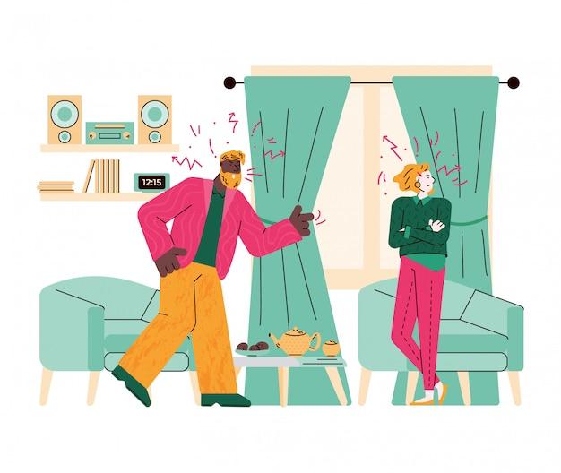 Discussão da família ou ilustração dos desenhos animados do conflito dos pares.