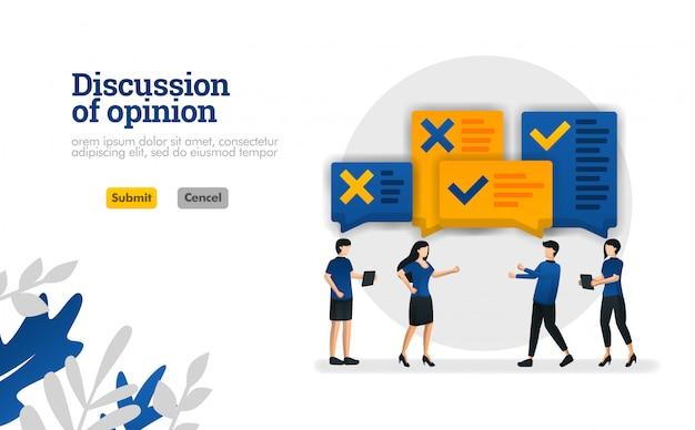 Discussão de opinião. com ilustrações de pessoas que estavam debatendo o conceito de ilustração vetorial