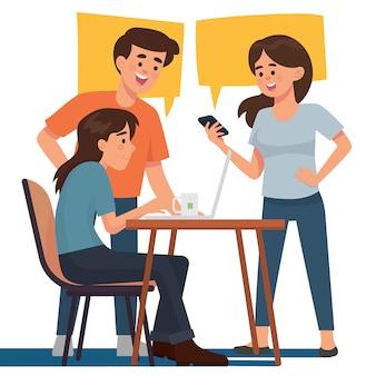 Discussão de trabalho em equipe e colaboração no escritório