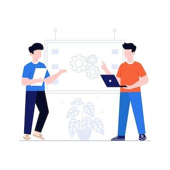 Discussão do projeto de ilustração com trabalho em equipe