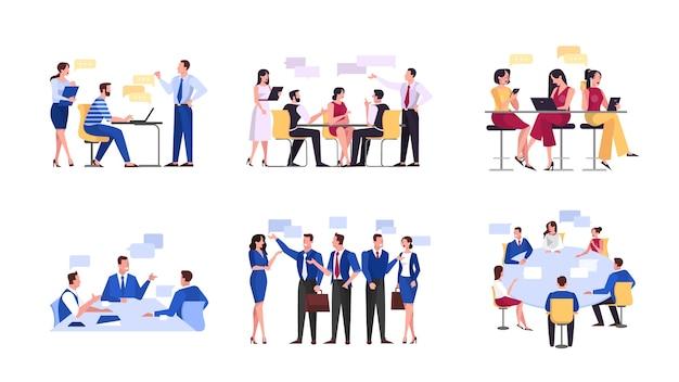 Discussão e brainstorming na ilustração do conceito de equipe