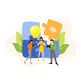Discussão e brainstorming no conceito de equipe. grupo de empresários no trabalho, reunião de escritório. comunicação profissional. ilustração
