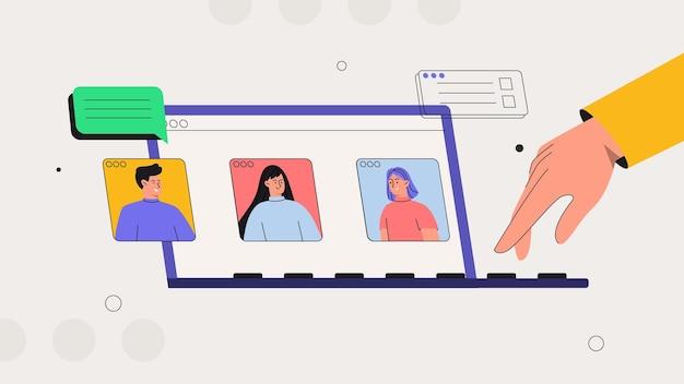 Discussão online e videoconferência de negócios