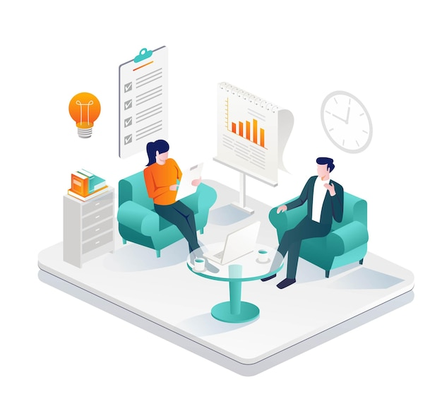Discussão sobre negócios no sofá