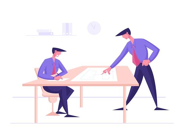 Discutindo novo projeto de trabalho ou personagens de idéias criativas para funcionários