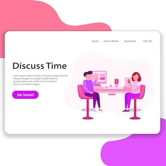 Discutir a ilustração da página de destino do tempo
