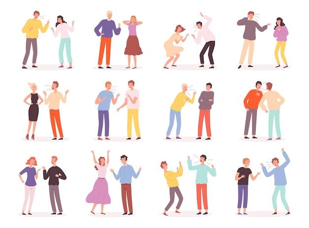 Discutir pessoas. conflito infeliz, família, relacionamento ruim, casais, problemas, gritando, personagens desrespeitados, pai e mãe bravos