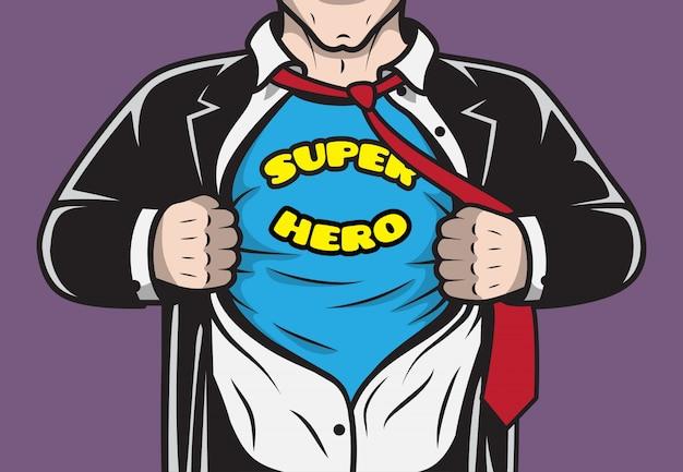 Disfarçado oculto, supermercado, super-herói, empresário, rasgando, camisa, conceito, vetorial, ilustração