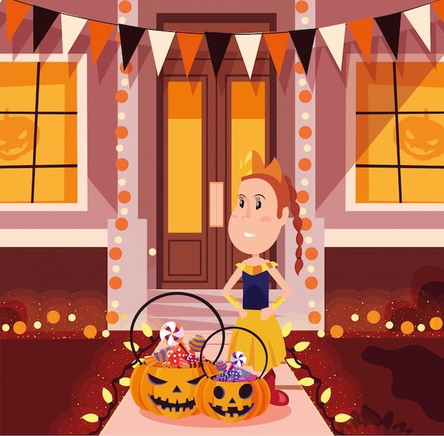Disfarce de menina em cena de halloween