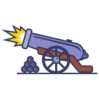 Disparado de um velho canhão de ferro. ilustração vetorial plana.
