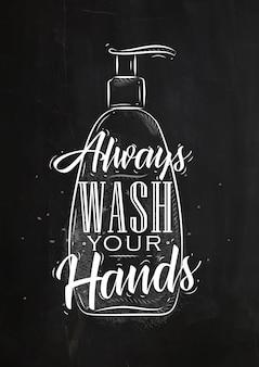Dispensador de sabonete em letras de estilo retrro, sempre lave as mãos desenhando no fundo de giz