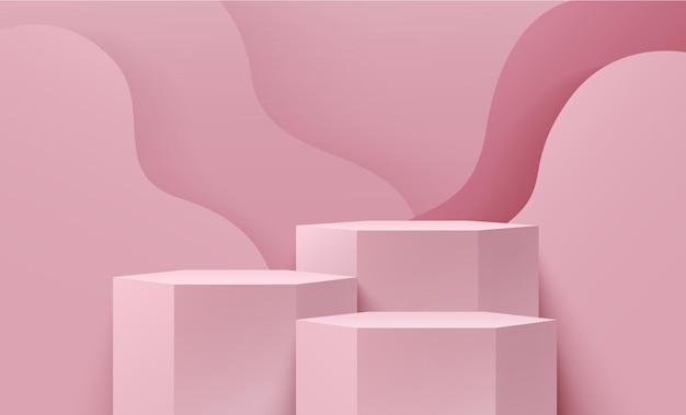 Display hexágono abstrato cor rosa para apresentação do produto