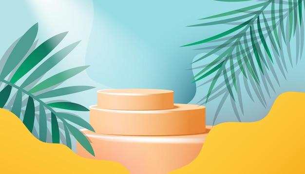 Display moderno de pedestal em fundo de verão com folhas de palmeira tropical e estilo minimalista de ondas suaves