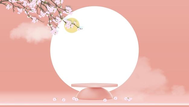 Display pódio com flor de macieira primavera no céu pastel de pêssego. suporte de cilindro 3d com ramos de sakura rosa florescendo