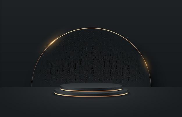 Display redondo preto e dourado abstrato para apresentação do produto.
