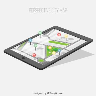 Dispositivo com mapa da cidade em perspectiva