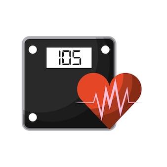 Dispositivo de escala de peso e ícone de coração cardio