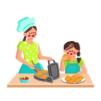 Dispositivo de fabricante de waffle para cozinhar vetor de biscoitos. mãe e filha assando waffles com morangos em equipamentos eletrônicos de cozinha. personagens mulher e menina cozinham bolos ilustração plana dos desenhos animados