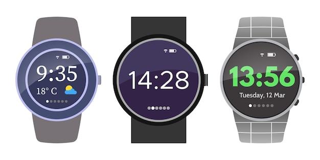 Dispositivo de relógios inteligentes em fundo branco conjunto de ilustração vetorial de três relógios