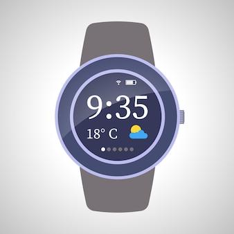 Dispositivo de relógios inteligentes em fundo branco. ilustração vetorial
