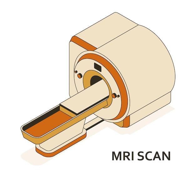 Dispositivo de ressonância magnética ou ressonância magnética. equipamentos médicos e cuidados de saúde. departamento de radiografia com scanner de ressonância magnética