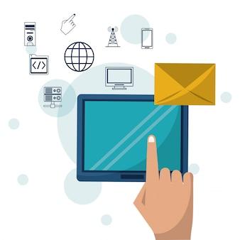 Dispositivo de tablet e correio de envelope em ícones de closeup e de rede