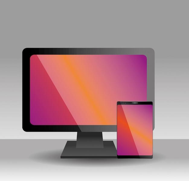 Dispositivo de telefone celular de monitor de computador realista com tela colorida