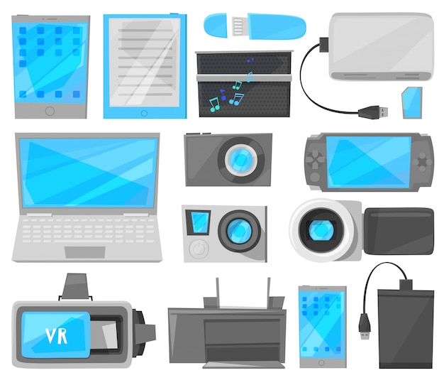Dispositivo digital gadget com display de laptop ou tablet e câmera de smartphone ou telefone equipamento eletrônico gamepad gravador de vídeo conjunto ilustração isolado no fundo branco