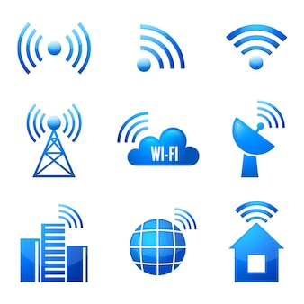 Dispositivo eletrônico conexão de internet sem fio símbolos wifi ícones brilhantes ou adesivos conjunto ilustração vetorial isolado