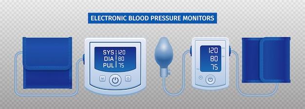 Dispositivo eletrônico de pressão arterial isolado em superfície transparente
