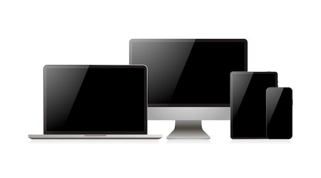 Dispositivo realista de laptop. smartphone, tablet e monitor de computador