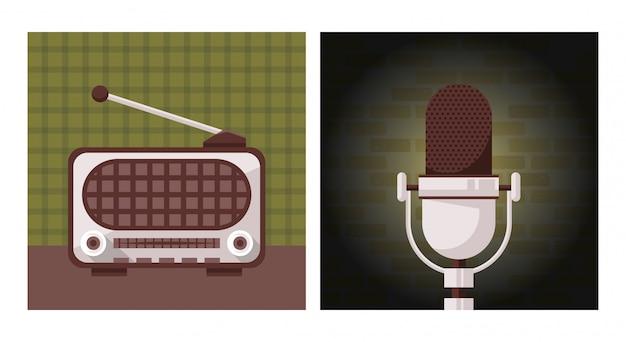 Dispositivos antigos de rádio e microfone